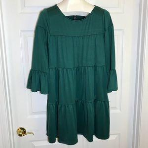 Agnes & Dora Green Tiered Bell Sleeved Dress